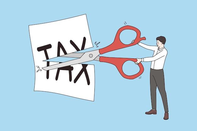 Concetto fiscale più basso e di taglio. uomo d'affari in piedi con le forbici che tagliano la tassa scritta su carta bianca riducendo facendo meno illustrazione vettoriale