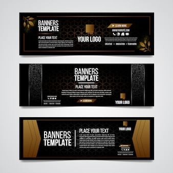 Terzo inferiore nero e oro argento colorato design di lusso modello web moderno contemporaneo.