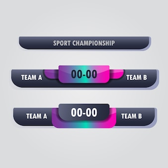 Inferiore terzo tabellone segnapunti squadra a vs squadra b broadcast modello grafico per sport, calcio e calcio