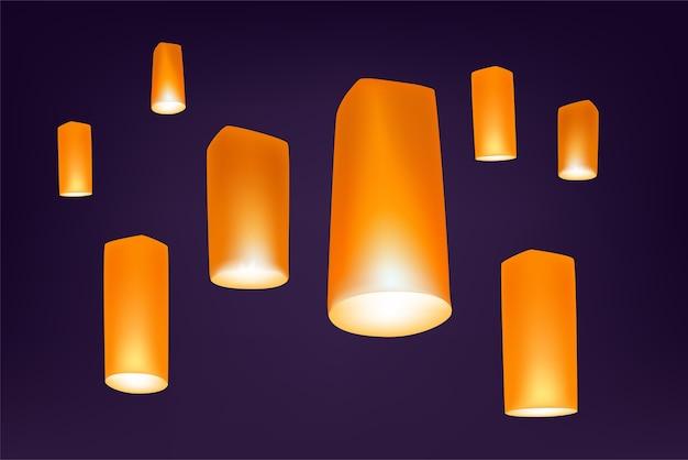 Loy krathong festival lanters nella notte