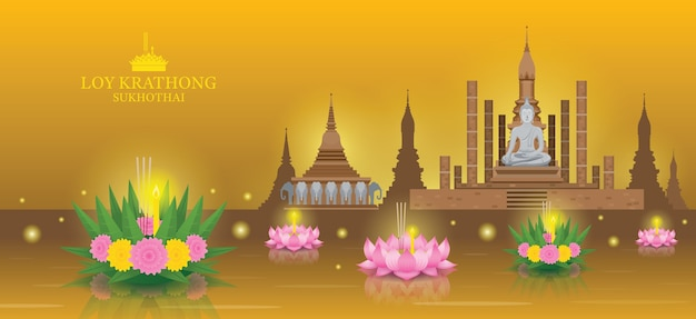 Loy krathong festival, sukhothai temple landmark skyline background