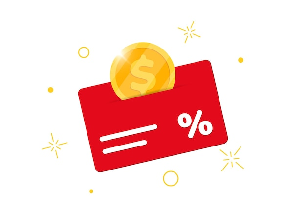Carta bonus del programma fedeltà. guadagna denaro o punti. segno di affari del servizio clienti di ritorno percentuale di acquisto. monete cashback reddito illustrazione vettoriale isolato