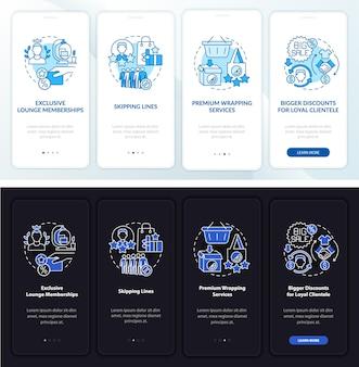 Il programma fedeltà offre una schermata della pagina dell'app mobile onboarding chiara e scura. istruzioni grafiche in 4 passaggi con concetti. modello vettoriale ui, ux, gui con illustrazioni lineari in modalità giorno e notte