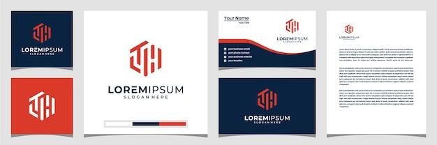 Modello di logo monogramma logo lth. icone per il business della tecnologia, digitale, dati, finanza.