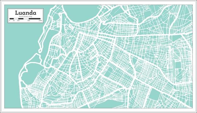 Mappa della città di luanda angola in stile retrò. mappa di contorno. illustrazione di vettore.