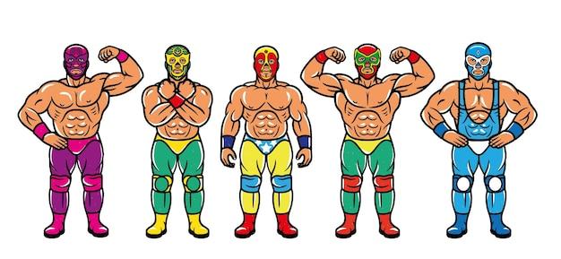 Personaggi lucha libre. combattenti di lottatori messicani in maschera.