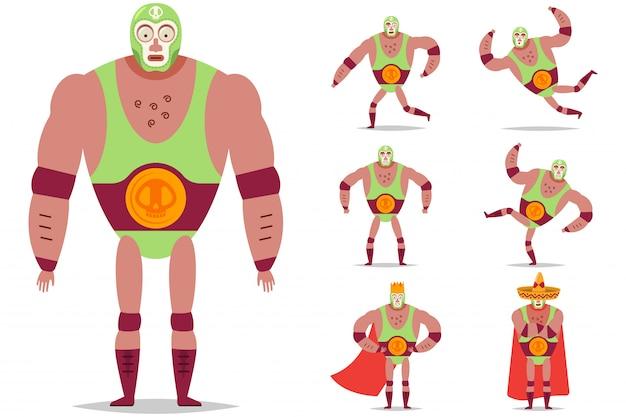 Lottatore messicano di lucha libre nel set di caratteri del fumetto di vettore della maschera isolato.