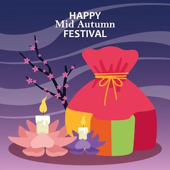 Sacchetto fortunato e candele di loto, felice festa di metà autunno