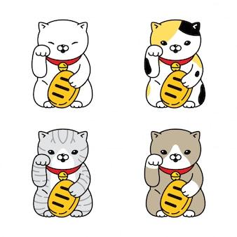 Illustrazione del personaggio di neko maneki gattino del fumetto gatto fortunato