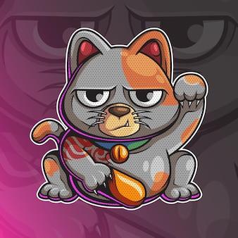 Illustrazione del carattere del gatto fortunato