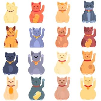 Set di icone di gatto fortunato. set di cartoni animati di icone di gatti fortunati
