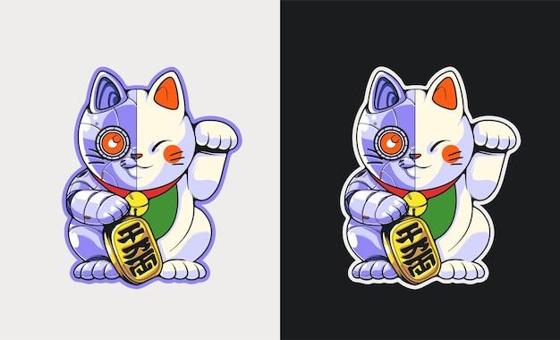 Illustrazione di robot gatto fortunato