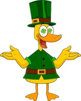 Carattere lucky duck leprechaun con le braccia aperte. illustrazione isolato su sfondo bianco