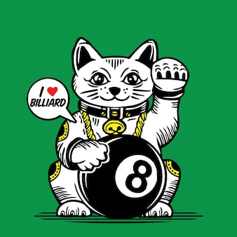 Disegno di carattere del biliardo dell'ottava palla di lucky fortune cat