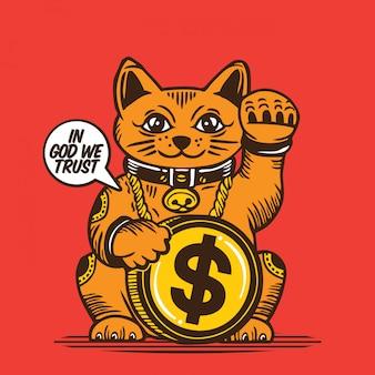 Progettazione di carattere di lucky fortune cat american dollar coin