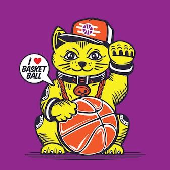 Lucky fortune cat basket ball character design