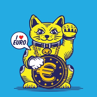Lucky fortune cat euro coin character design