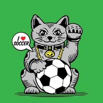 Lucky fortune cat soccer ball character design
