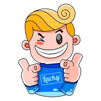 Ragazzo fortunato con un maglione blu con l'illustrazione di sorrisi fortunati per stampe, magliette, copertine.