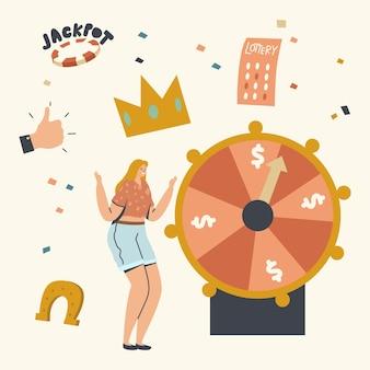 Il personaggio della donna fortunata vince il jackpot sulla ruota della fortuna nel casinò o nella casa da gioco