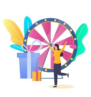 Vincitore del gioco della ruota della fortuna della donna fortunata che ottiene un premio illustrazione vettoriale spettacolo televisivo casinò e gioco d'azzardo...