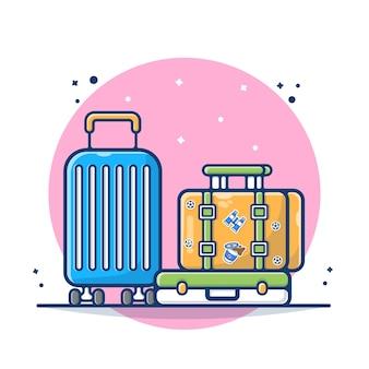Bagagli con la valigia e l'illustrazione della borsa. borsa e bagagli in viaggio concetto. stile cartone animato piatto
