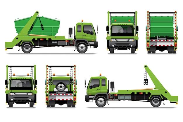 Camion lugger, spazzatura a braccio oscillante, veicolo per lo smaltimento dei rifiuti.