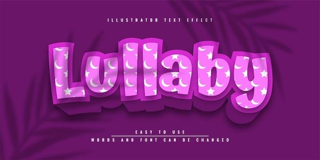 Lullaby illustrator modificabile effetto testo 3d