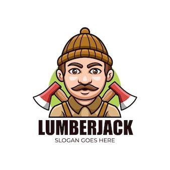 Lumber jack cartoon logo mascotte