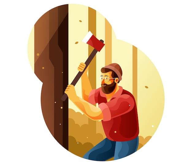 Boscaiolo che taglia un albero con un'ascia