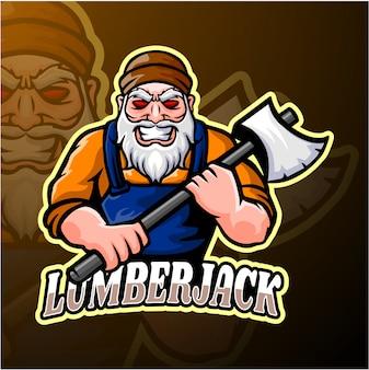 Lumberjack esport logo design mascotte