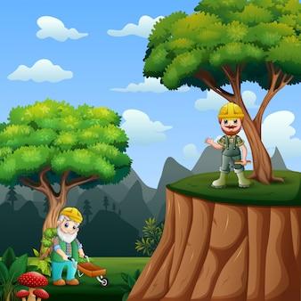 Il boscaiolo nell'illustrazione della foresta