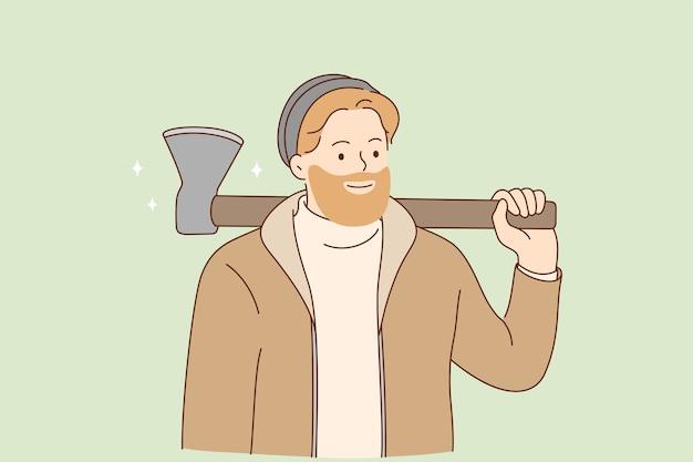 Lumberjack e hipster con il concetto di barba.