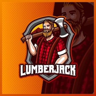 Lumberjack mascotte esport logo design illustrazioni modello, boscaiolo arrabbiato con logo ax