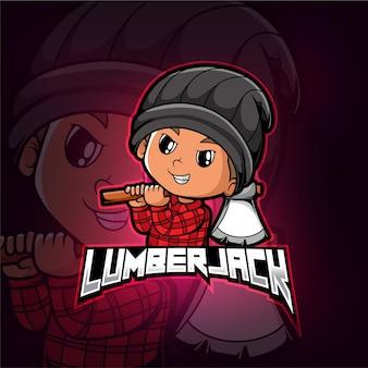 Lumberjack mascotte esport logo design