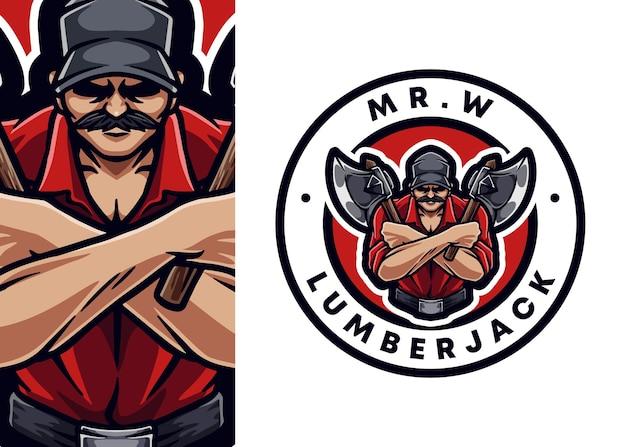 Illustrazione del logo della mascotte del boscaiolo
