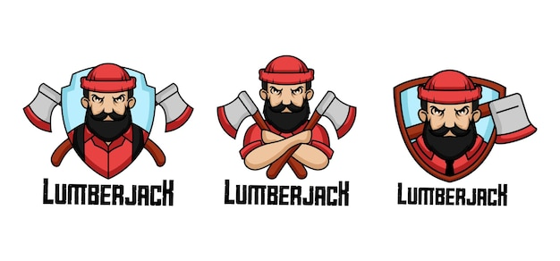 Lumberjack retro distintivo logo design mascotte