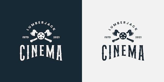 Vettore di progettazione del logo del cinema del boscaiolo del boscaiolo