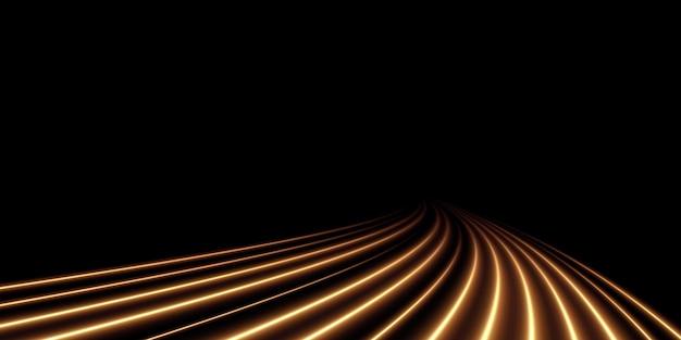 Linea di luce ondulata dorata luminosa su uno sfondo trasparente luce elettrica luce dorata png