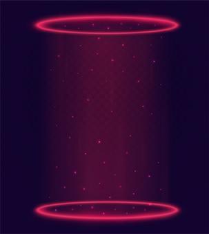Portale magico luminoso, teletrasporto con anelli rossi e raggi di luce di una scena notturna con scintille su sfondo trasparente. elementi futuristici dell'ologramma.