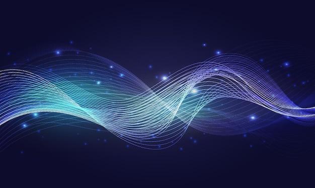 Le onde luminose al neon blu astraggono la luce brillante effetto vento magico con scintillii luminosi