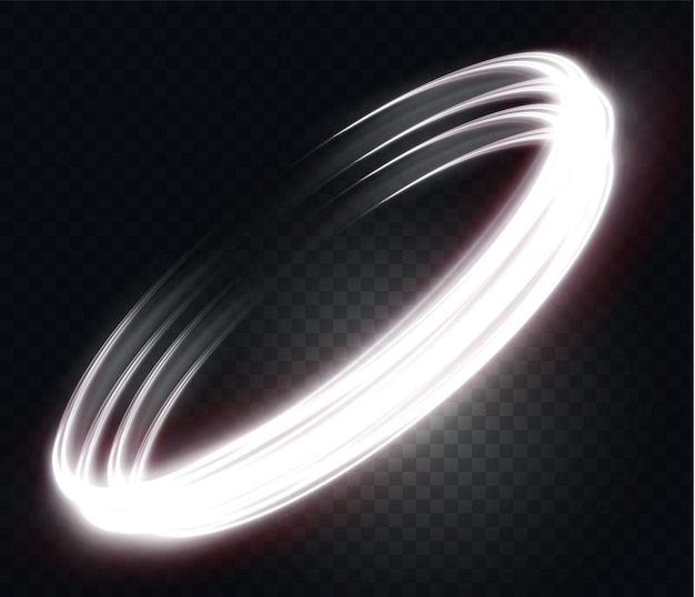 Linea di luce ondulata bianca luminosa su una luce elettrica al neon di sfondo trasparente