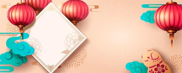 Banner design dell'anno lunare con distico primaverile e maiale in arte cartacea, copia spazio per le parole di saluto