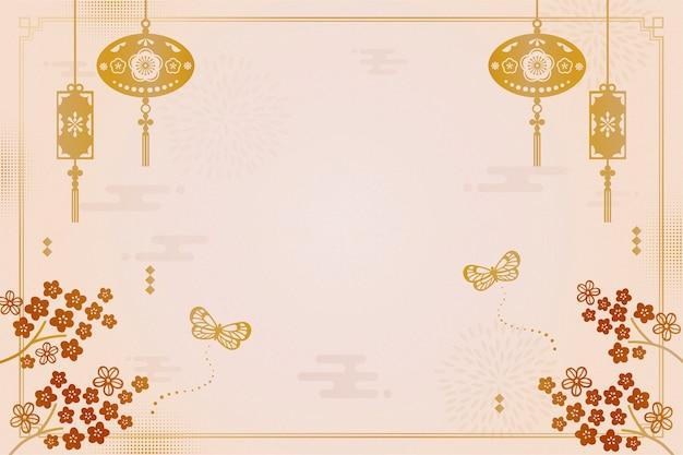 Sfondo decorativo anno lunare con fiori di prugna e lanterne