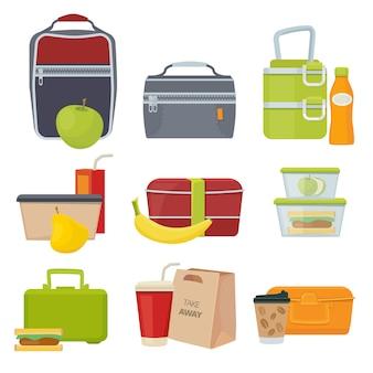 Cestini del pranzo. sacchetto di pacchetti di cibo quotidiano sano scuola con prodotti di snack sandwich di insalata di frutta per la raccolta del fumetto di vettore dei bambini. scatola con illustrazione di snack, zaino e panino per il pranzo