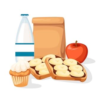 Sacchetto di carta pranzo con illustrazione di succo