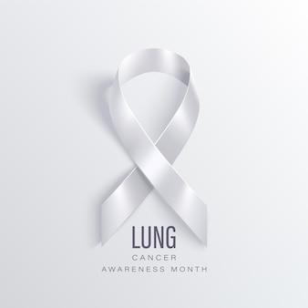 Mese di sensibilizzazione sul cancro del polmone novembre. banner di mese di consapevolezza del cancro del polmone con nastro bianco
