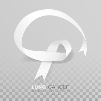 Nastro di colore bianco del mese di sensibilizzazione sul cancro del polmone isolato su sfondo trasparente