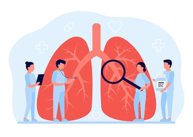 Assistenza sanitaria per diagnosi polmonare. concetto di ispezione degli organi interni da parte dei medici