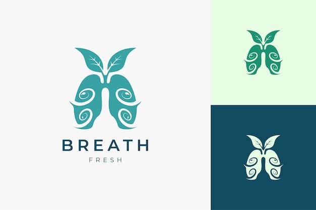 Logo del polmone per il trattamento o la terapia del respiro